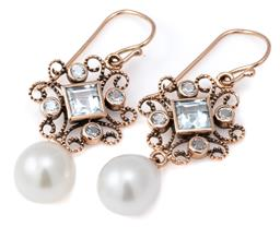 Sale 9124 - Lot 470 - A PAIR OF 9CT ROSE GOLD TOPAZ AND PEARL EARRINGS; each a cannetille work cluster set with a square and 4 round cut blue topaz suspen...