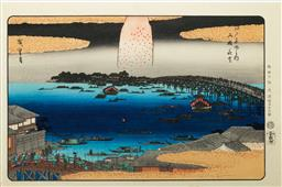 Sale 9164 - Lot 451 - Hiroshige marked Japanese woodblock print of Fireworks at Ryogoku bridge from the Famous places in Edo series (39cm x 26cm)
