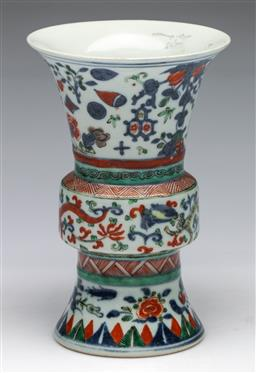 Sale 9175 - Lot 226 - Chinese Famille Verte Hua Gu Shaped Vase, Dragons And Flowers Design,, H:16.5cm