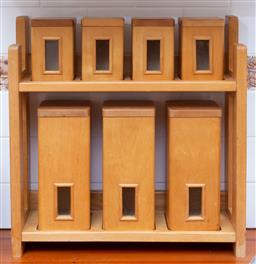 Sale 9190H - Lot 410 - A set of timber and glass kitchen canisters on purpose built shelf, Height of shelf 48cm