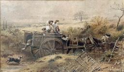 Sale 9214A - Lot 5019 - ATTRIBUTED MYLES BIRKET FOSTER (1825 - 1899) Going to Market watercolour 12 x 20 cm (frame: 32 x 37.5 cm) signed with monogram lower...