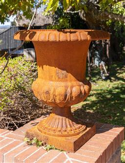 Sale 9248H - Lot 285 - A Pair of large cast iron urns with rust patina. height 81 x d69cm