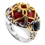 Sale 7982B - Lot 104 - Silver retro ring with coral, onyx and gilt detail