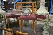 Sale 8054 - Lot 1100 - Set of 6 Timber Dining Chairs w Upholstered Seat on Front Cabriole Legs