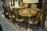 Sale 8127 - Lot 830 - Timber 9 Piece John Dufficey Dining Suite Including Extension Table And 8 Rattan Back Chairs