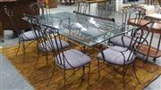 Sale 8159 - Lot 1015 - Metal Outdoor Setting Inc Glass Top Table And Eight Chairs