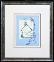 Sale 8235A - Lot 58 - Marc Chagall (1887 - 1985) - The House in My Village 32 x 24cm (frame 65 x 56cm)