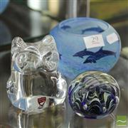 Sale 8365 - Lot 29 - Orrefors Owl & Signed Artglass Bowl & Paperweight