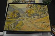 Sale 8453 - Lot 2070 - Artist Unknown (2 works) - Rural Scenes, oil on board, each, 31 x 44.5cm; 32 x 44.5cm, signed indistinctly lower right, each