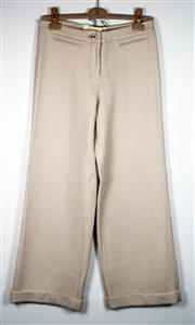 Sale 8460F - Lot 76 - A pair of Anna Molinari cream wool pants with tie up lace to back and turned cuffed hems, size 38, wear to hems