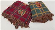 Sale 8470H - Lot 317 - Two armorial motif woven cotton throws, in red, gold and green
