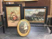 Sale 8751 - Lot 2085 - 3 Works: Pair of Original Oil Paintings by F Woodley, plus Antique Photograph signed by Sidney Riley