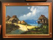 Sale 8776 - Lot 2073 - G.I. Sanchez - Fishing Village, oil, SLR, 60x90cm