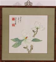 Sale 9032C - Lot 794 - Framed Chinese Print Of Flowers (37cm x 37cm)