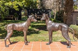 Sale 9248H - Lot 286 - A Pair of large bronze whippets height 94 x length 120cm