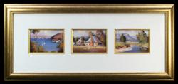 Sale 7919 - Lot 570 - Werner Filipich - Triptych of a Harbour Scene, River Scene and Country Cottage each painting 13 x 17cm