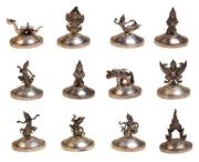 Sale 7974 - Lot 58 - Thai Silver Set of Twelve Name Place Card Stands