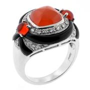 Sale 7982B - Lot 50 - 1940s style silver ring with onyx, cornelian and white stones