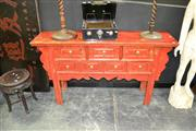Sale 8019 - Lot 1005 - Chinese Raised Sideboard in Red Distressed Finish w 7 Drawers