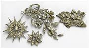 Sale 8196F - Lot 382 - 1930S PASTE SET BROOCHES; SCP articulated silver spray brooch by Ciro of London (2 stones missing) French silver (1 paste missing),...