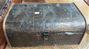 Sale 8310A - Lot 271 - A metal clad timber chest with embossed palm decorations, W 44cm