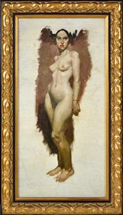 Sale 8389 - Lot 544 - Norman Lindsay (1879 - 1969) - Olive, 1938 63 x 31cm