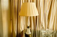 Sale 8392H - Lot 90 - A French crystal and bronze table lamp of impressive proportions with cream pleated shade, total H 88cm