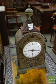 Sale 8500 - Lot 1040 - 19th Century Boulle Style Mantle Clock or Timepiece, with red tortoiseshell ground, white enamel dial with Breguet hands & single fu...