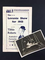 Sale 8539M - Lot 106 - Vintage photograph of The Great Levante performing the Buzzsaw Illusion, T/W programme for The Levante Show 1953