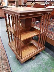 Sale 8576 - Lot 1046 - Antique Oak Revolving Bookcase, of two tiers