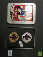 Sale 8548 - Lot 2285 - Gold & Silver Plated Spiderman in Tin
