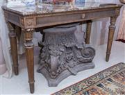 Sale 8568A - Lot 66 - A Louis XVI style carved console table, with a brown mottled stone top, fluted frieze and turned legs, H 89 x W 149 x D 60cm, ex Law...