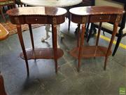 Sale 8617 - Lot 1066 - Pair of French Style Kidney Shaped Side Tables, each with a drawer, shelf & cabriole legs