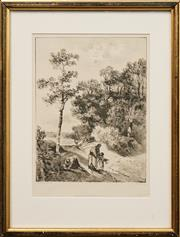 Sale 8650 - Lot 2061 - Thomas Gainsborough (1727 - 1788) Print - Wooded Landscape with Three Figures 25 x 19cm