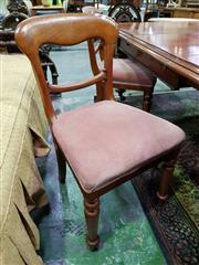 Sale 8653 - Lot 1063 - Set of Six Victorian Mahogany Dining Chairs, with squared balloon backs, pink velvet seats & turned legs to front