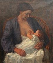 Sale 8764 - Lot 579 - Artist Unknown (C19th) - Mother & Child 81 x 70cm