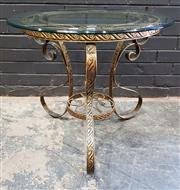 Sale 9009 - Lot 1088 - Brass Side Table with Glass Top (h:61 x d:65cm)