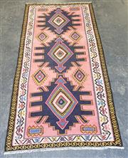 Sale 9068 - Lot 1086 - Vintage Persian Wool Kilim, with triple arrow head medallions, on a pink field ( 316 x 157cm)