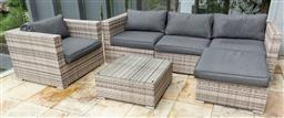 Sale 9150H - Lot 29 - An Alices Garden six piece outdoor setting comprising  a three seater, Height 67cm x Width 240cm x Depth 82cm, an arm chair, an ott...