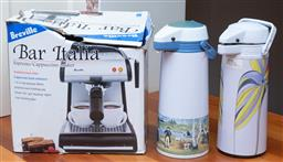 Sale 9190H - Lot 413 - A breville bar italia coffee machine together with pair of retro thermos
