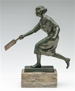 Sale 9190 - Lot 49 - A cast metal figure of a lady playing cricket (H:25cm)