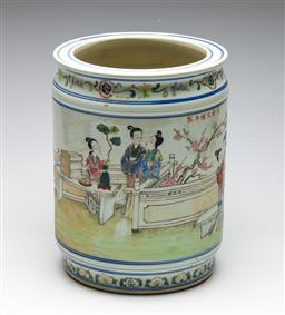 Sale 9253 - Lot 103 - A cylindrical Chinese vessel featuring ladies in garden (H:30cm)
