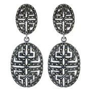 Sale 7982B - Lot 51 - Silver earings in a geometric Art Deco style set with marcasite
