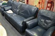 Sale 8087 - Lot 1048 - Blue Leather 2 Piece Lounge inc 2 1/2 Seater & 2 Armchairs, all recliners