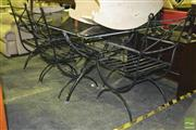Sale 8227 - Lot 1092 - Iron Outdoor Table Setting incl. Glass Top Table & 6 Chairs