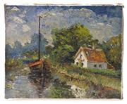 Sale 8272A - Lot 53 - Artist Unknown, early C20th French Impressionist School - River Scene unframed  40 x 50cm