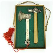 Sale 8304A - Lot 21 - Japanese Ceremonial Silver Finish Axe & Hammer w Inscriptions & Fitted Box