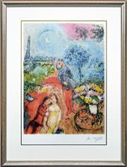 Sale 8301A - Lot 7 - Marc Chagall (1887 - 1985) - Lover Over Paris 71 x 52cm