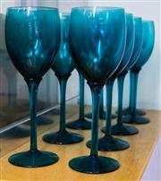 Sale 8310A - Lot 120 - Nine turquoise glass wine glasses.