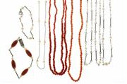 Sale 8426 - Lot 514 - PEARL AND CORAL NECKLACES AND BRACELETS; single and double strands of coral beads 470-485mm, a 4.9mm cultured Akoya pearl on silver...